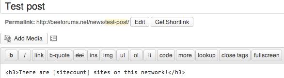 Shortcode in editor